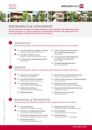 Formulare Checklisten Vertraege Immobilienmakler Werbeagentur Erforderliche Dokumente
