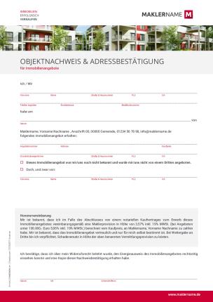 Formulare Checklisten Vertraege Immobilienmakler Werbeagentur Objektnachweis