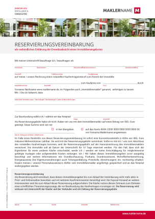 Formulare Checklisten Vertraege Immobilienmakler Werbeagentur Reservierungsvereinbarung