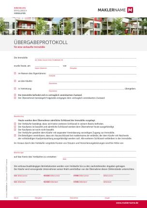 Formulare Checklisten Vertraege Immobilienmakler Werbeagentur Übergabeprotokoll