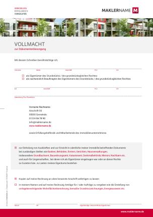 Formulare Checklisten Vertraege Immobilienmakler Werbeagentur Vollmacht