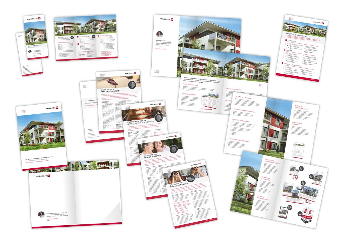 Immobilienmakler Broschüre Prospekt Akquise Einkauf Verkauf