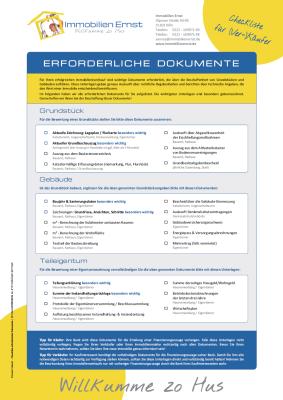 Checkliste erforderliche Dokumente Immobilienverkauf