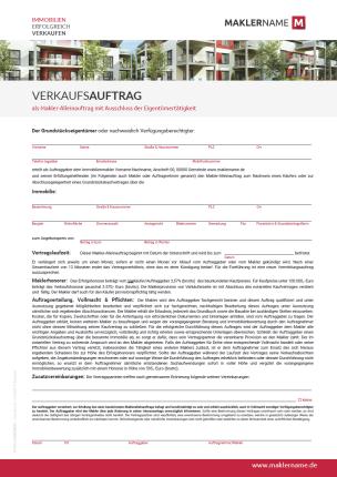 Formular Immobilienmakler Maklerauftrag