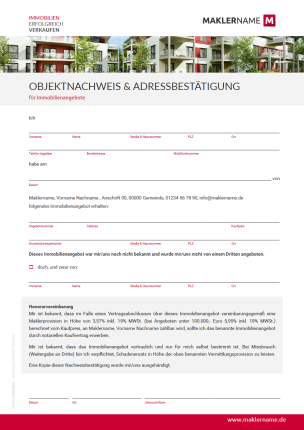 Formular Immobilienmakler Objektnachweis